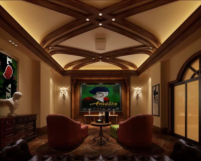 半山国际豪华别墅电视背景墙装修设计案例效果图