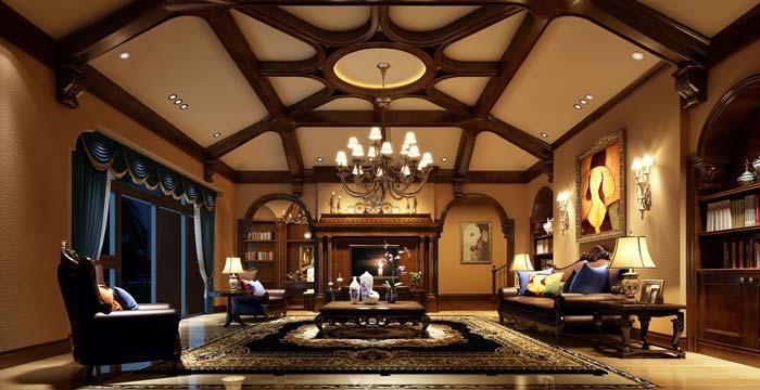 半山国际豪华别墅客厅装修设计案例效果图