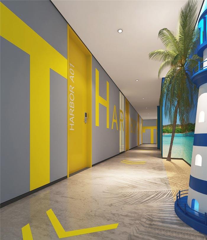 港湾主题酒店走廊装修设计案例效果图