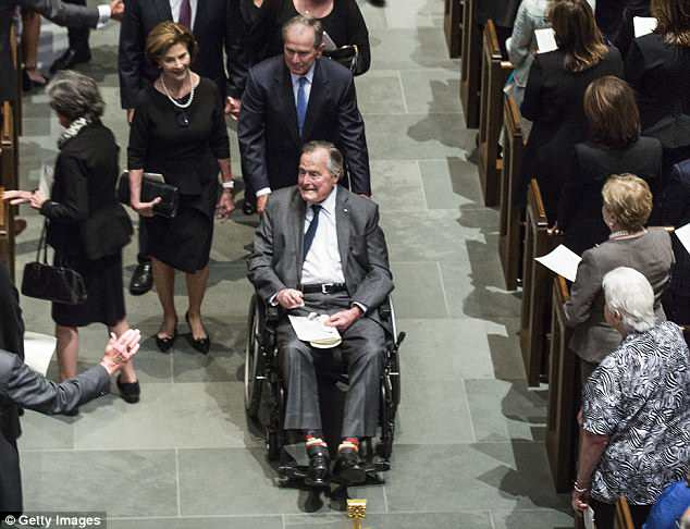Former President George H W Bush has been hospitalized with an infection just days after his wife Barbara's funeral