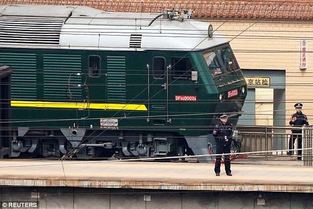 The distinctive green and yellow armoured train that pulled into Beijing on Monday may be slow but it is not without its luxurious fittings inside