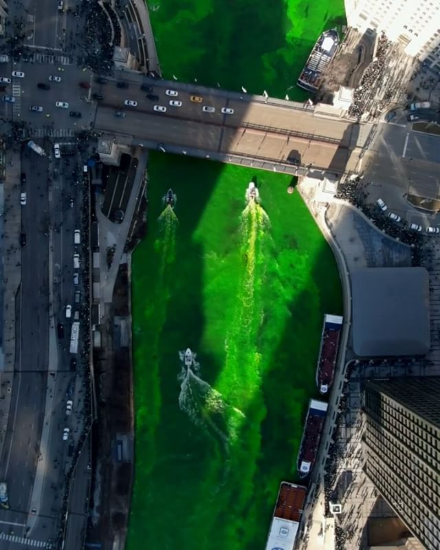 Chicago's St. Patrick's Day river dying from Above. #greenriver #chicagoriver #stpatricksday #chicago