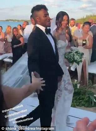 A day they'll never forget: The pair looked overjoyed as they walked back down the aisle as man and wife