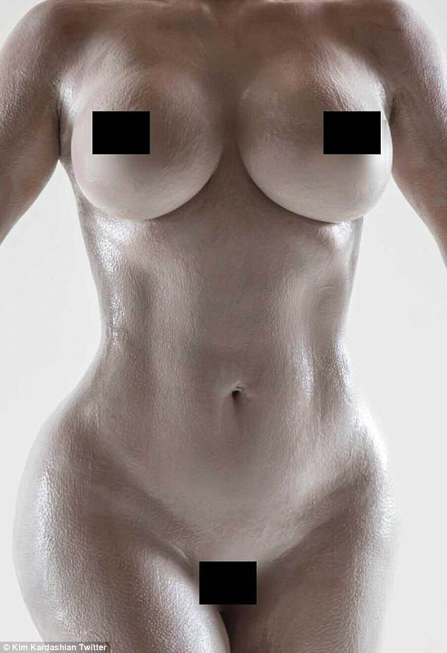 Hourglass: She shared numerous naked snaps of herself on Tuesday as she teased the arrival of her new perfume