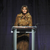US First lady Melania Trump speaks at the B'More Youth Summit, Tuesday, Nov. 26, 2019, at UMBC in Baltimore. The first lady urged students to avoid misusing drugs, saying that it would make it harder for them to achieve. (Barbara Haddock Taylor/The Baltimore Sun via AP)