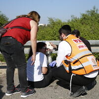 Paramedics treat a woman and her dog moments after a rocket fired by Palestinians terrorists from Gaza hit a main free way between Ashdod and Tel Aviv near Ashdod Israel, Tuesday, November 12, 2019. (AP Photo/Ariel Schalit)