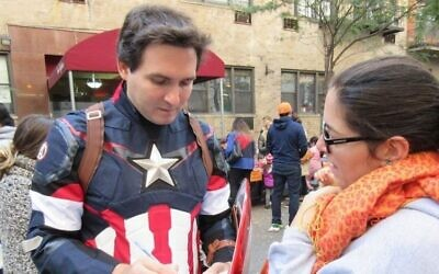 New York CIty Councilman Ben Kallos dressed as Captain America at Yorkville Community School, Oct. 30, 2016. (Facebook)