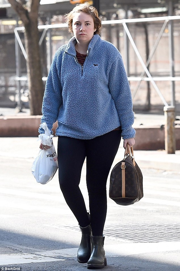 All by her lonesome: Lena was spotted on a solo stroll in New York on Wednesday after her hysterectomy