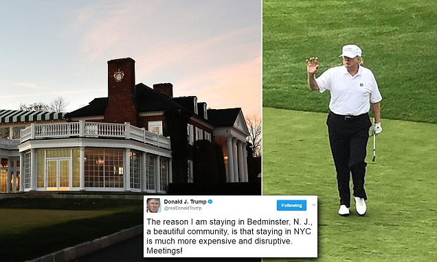 Trump is pictured on the golf course again