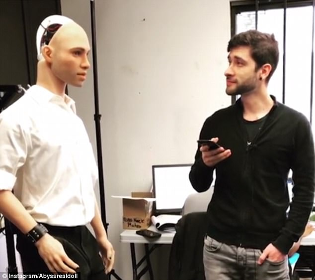 A new £8,000 ($11,000) robot called Henry (left) not only boasts 'superhuman sexual performance' but he's apparently good at cracking jokes too