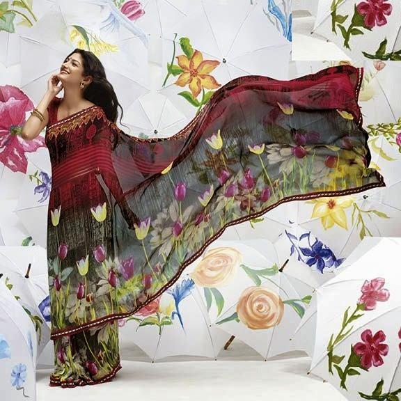 Floral Print Geogette Sarees Online, Modern Print Sarees 2017
