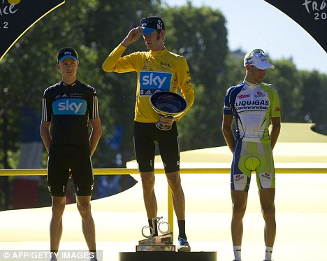 Making history: Bradley Wiggins became the first ever British winner of the Tour de France on Sunday
