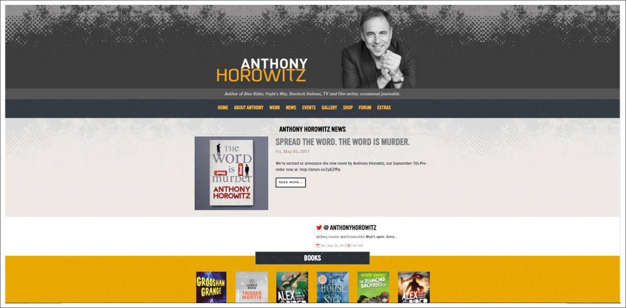 11 Author Websites That Get It Right - Anthony Horowitz