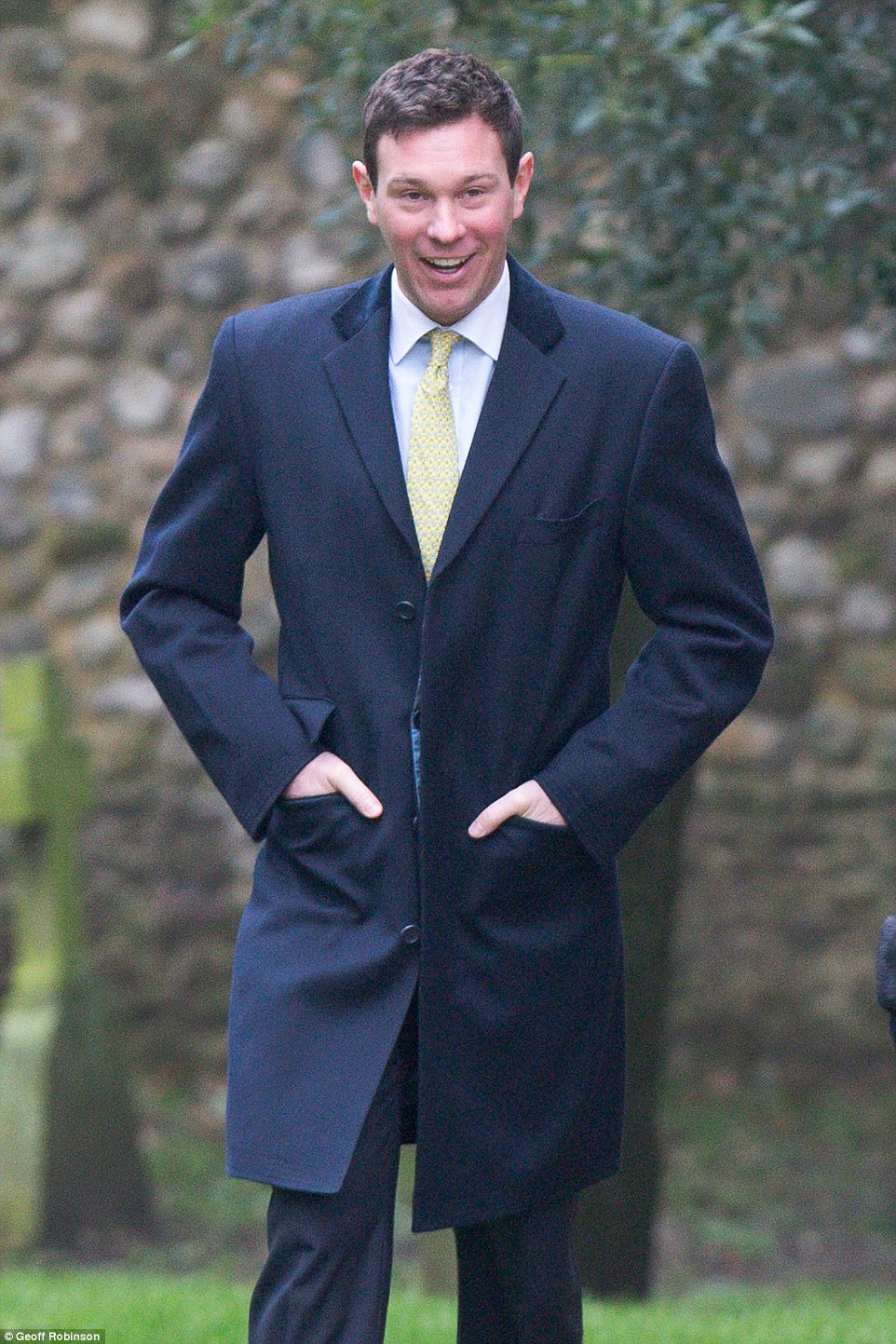 Jack Brooksbank joined the royals at Sandringham for Sunday service yesterday, but did not walk to church alongside his partner Eugenie
