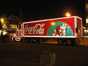 Coca-Cola Christmas truck. Photo made on Vrede...
