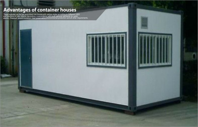 Modern Small Shipping Prefab Container House with Glass Window and Aluminum Door 20ft