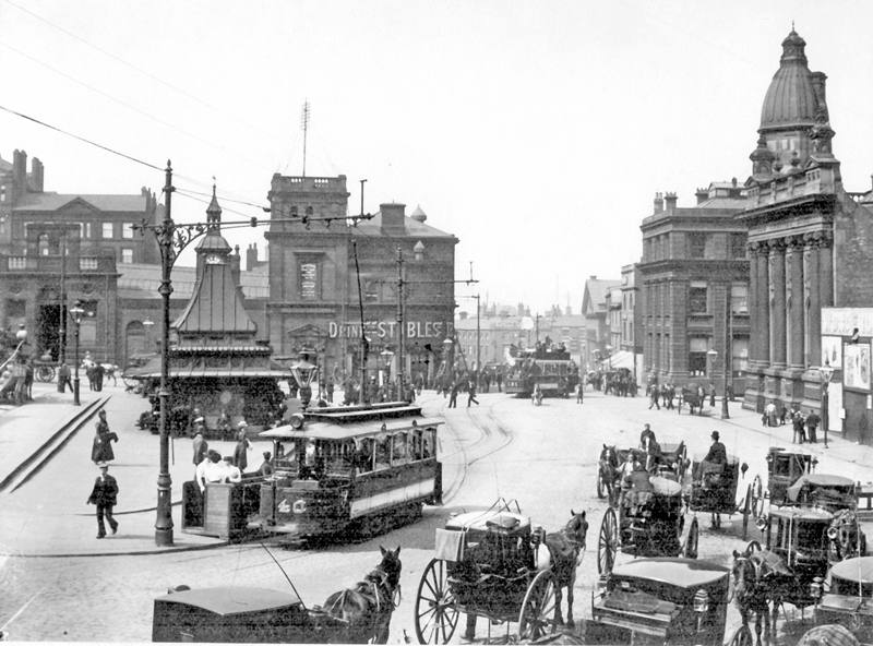 Fitzalan Square in the 1890s, when it was central to Sheffield life