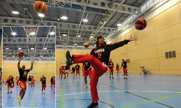 Tonga show off their basketball skills as Mana Otai's side prepare for a Rugby World Cup