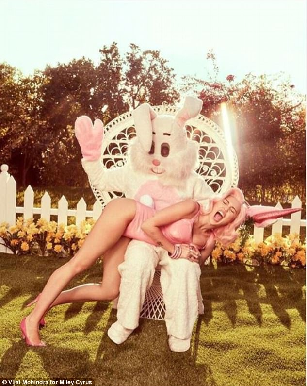 Not shy:Miley Cyrus shared a series of sultry Instagram posts to wish her followers a happy Easter on Friday