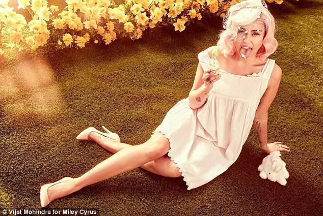 Sweet treat:According to Vogue, for her Easter pictorial Miley styled herself with help from Bradley Kenneth McPeek