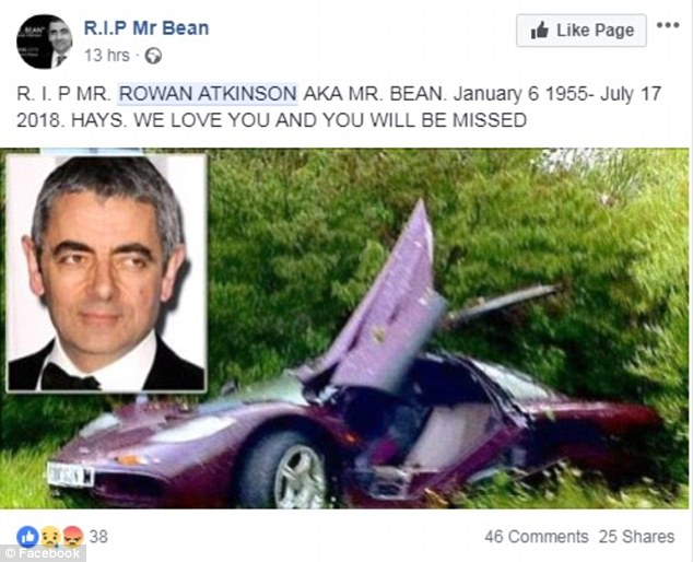 A page suggesting that Rowan Atkinson has died in July 2018 has appeared on Facebook