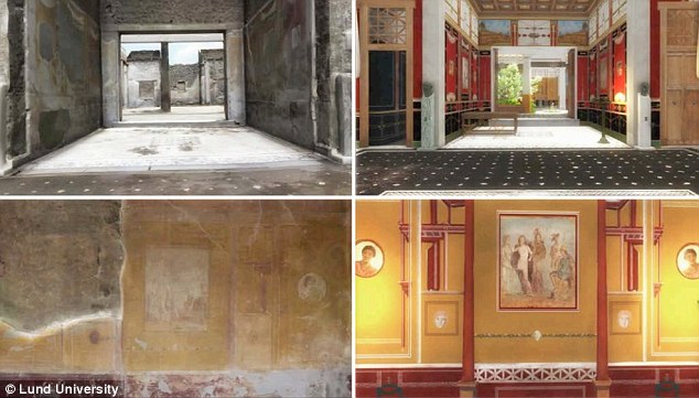 Two examples (left to right) appearance show what the house could have looked like, based on photographs and 3D scanning