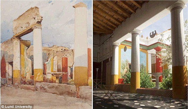 The city district was scanned during the field work in 2011-2012 and the first 3D models of the ruin city have now been completed. Pictured left is a painting of the house, and pictured right is the 3D reconstruction