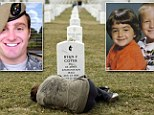 Lesleigh Coyer, 26, lay down and sobbed on the grave of her older brother Ryan at the cemetery, located in Arlington, Virginia. Sgt Coyer died last year after going into cardiac arrest