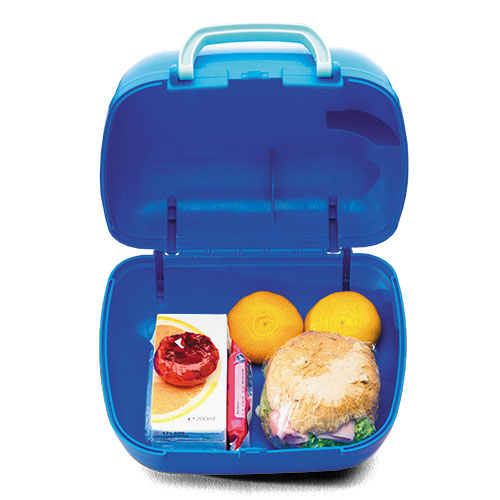 open blue lunchbox with food
