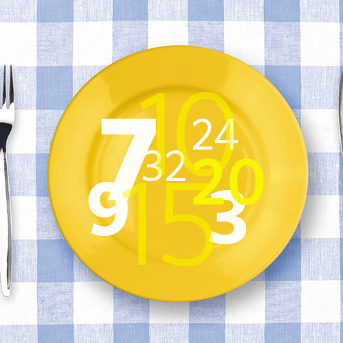 various numbers superimposed over yellow plate