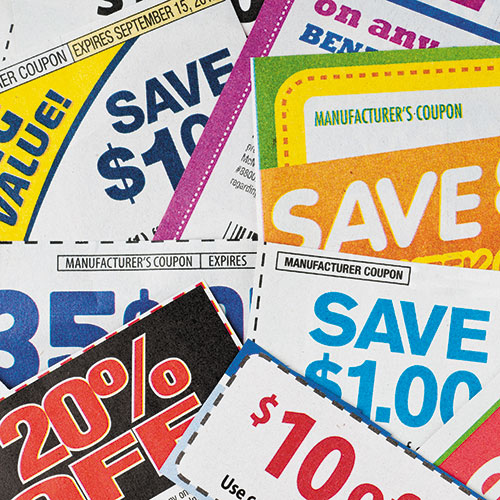 close-up of brightly colored coupons
