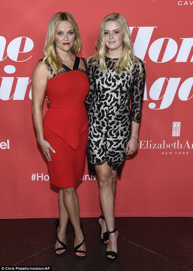 Twinning: Reese Witherspoon walked the red carpet for her latest film Home Again with her eldest child, 17-year-old Ava Elizabeth Phillippe in Los Angeles on Tuesday