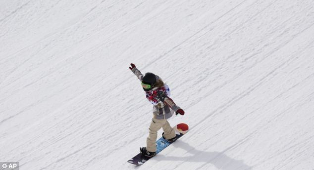 Focused: Anderson in action, celebrating at the end of her final run in the slopestyle