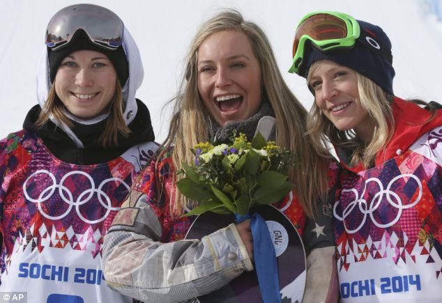 Distracting: Anderson (centre), flanked by silver medalist Enni Rukajarvi of Finland (left) and Britain's Jenny Jones (right), said she had to quit the app to focus on winning