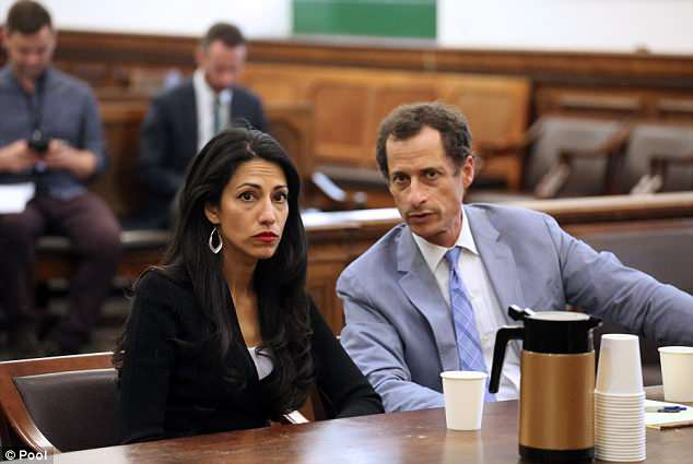 Huma's estranged husband Anthony Weiner was sentenced to 21 months behind bars after he pleaded guilty to sending obscene material to the minor