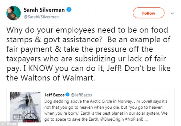 Silverman responded to the tweet saying: 'Be an example of fair payment & take the pressure off the taxpayers who are subsidizing your lack of fair pay'