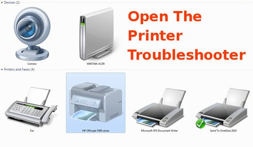 open the printer troubleshooter