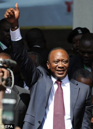 Uhuru Kenyatta after being officially announced as winner of the presidential election