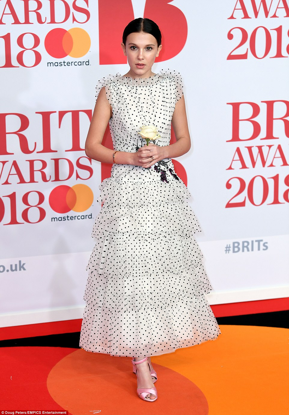 Music lover: Millie Bobby Brown looked thrilled to join a host of stars at the BRIT Awards at London's O2 on Wednesday