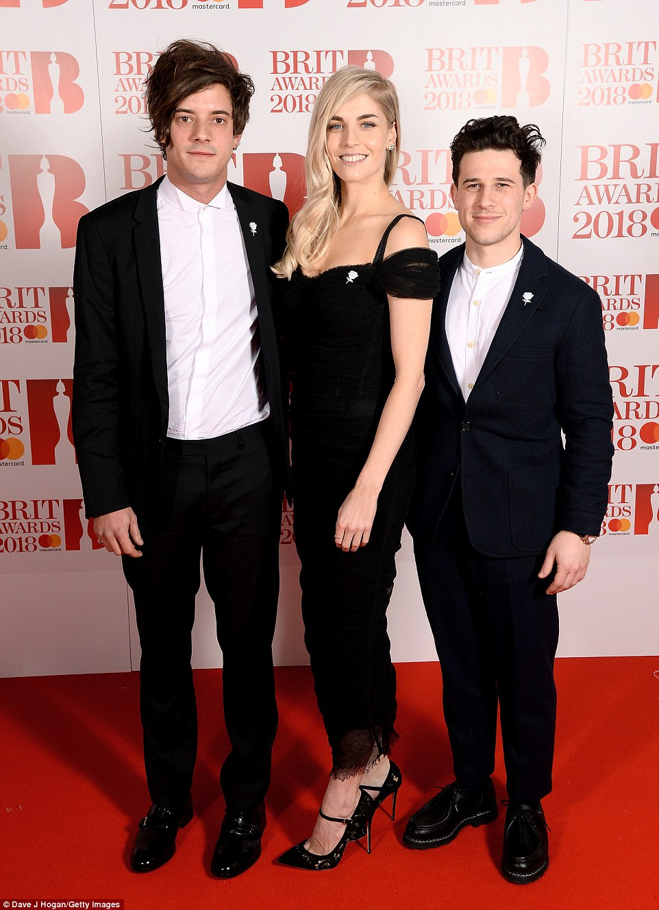 Trio: (L-R) Dot Major, Hannah Reid and Dan Rothman of London Grammar all opted for matching monochrome ensembles