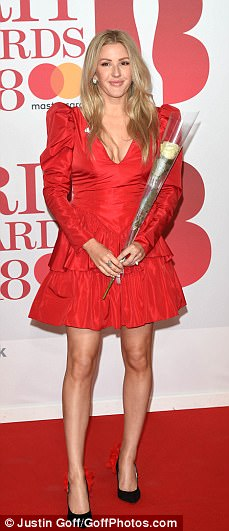Here come the girls! Rita Ora, Holly Willoughby, Ellie Goulding and Kylie Minogue were leading the glamorous arrivals at the BRIT Awards 2018, held at London 's O2 Arena on Wednesday evening