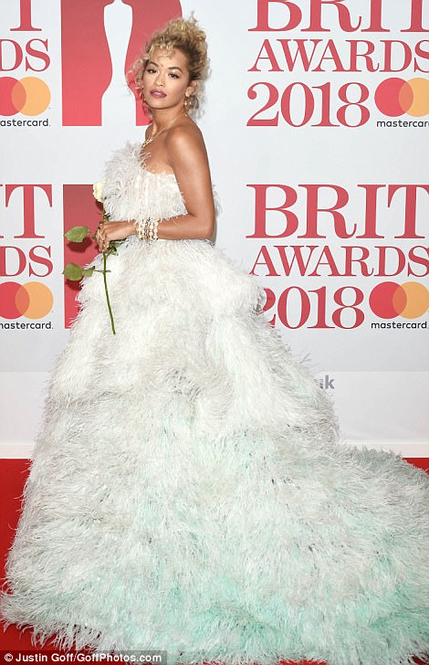 Sensational: Always one to take risks when it comes to fashion, Rita didn't disappoint as she flaunted her sartorial excellence in the strapless number