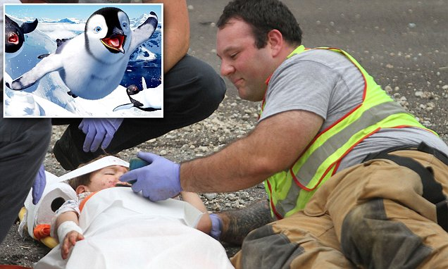 D'Ilberville firefighter comforts four-year-old in car crash with Happy Feet