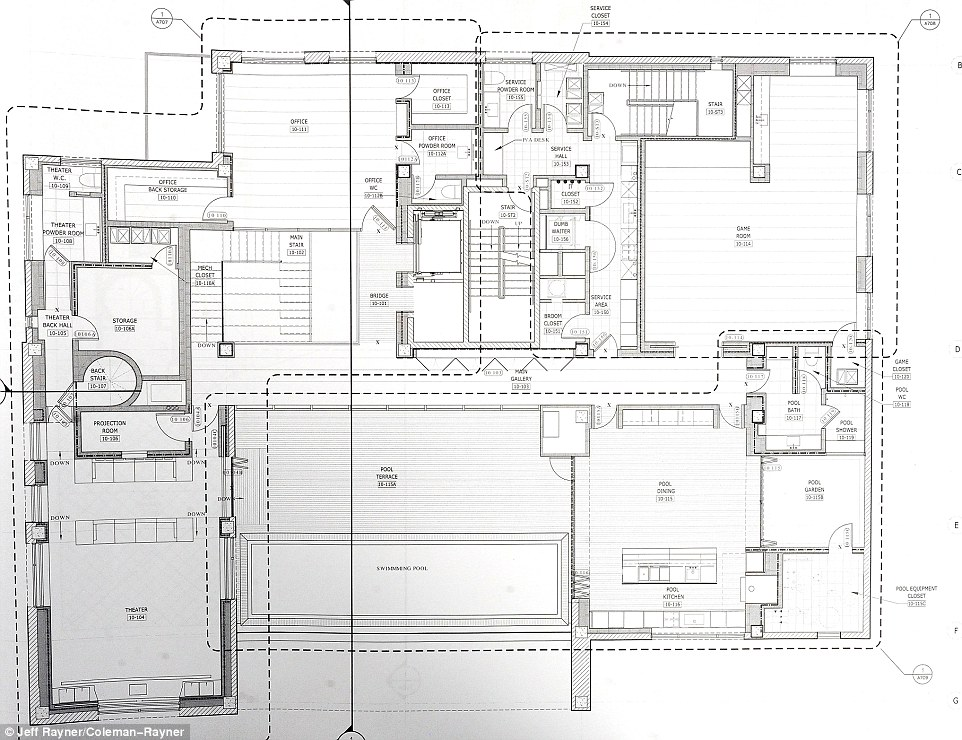 The plan also shows a theater room, projection room, and a large office