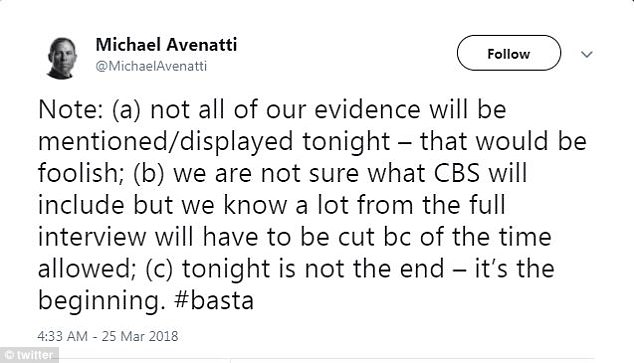 Daniels' attorney, Michael Avenatti, tweeted on Sunday that this was just the beginning of the saga