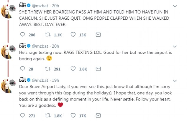 She later said the woman decided to abandon the trip, throwing her boarding pass at him