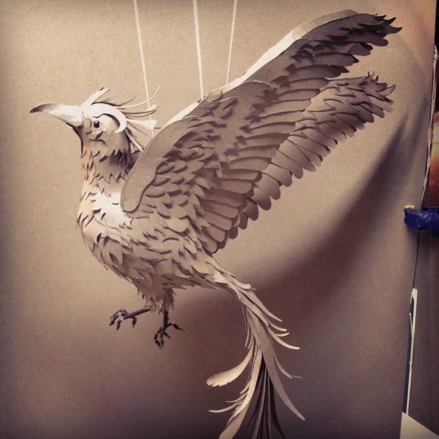 Unpainted 'released' bird with all it's feathers in place - view 2
