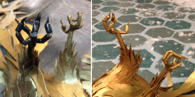WIP bird's feet after repositioning (left) and after painting (right).