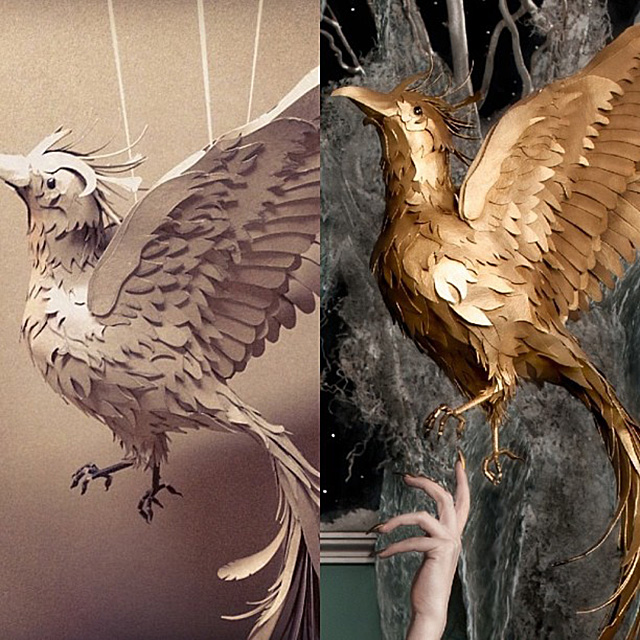 """Unpainted WIP bird (left) detail from final """"Caged"""" image (right)."""