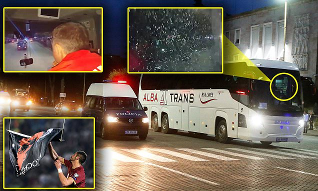 Serbian bus hit by stones thrown by Albania fans one year after reverse fixture was